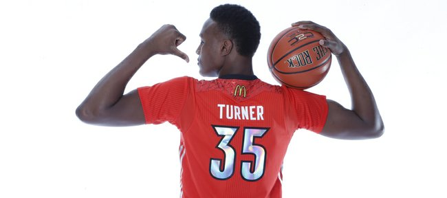 Kansas University basketball recruit Myles Turner and other top high school basketball players will play tonight in the McDonald's All-American Game at the United Center in Chicago.