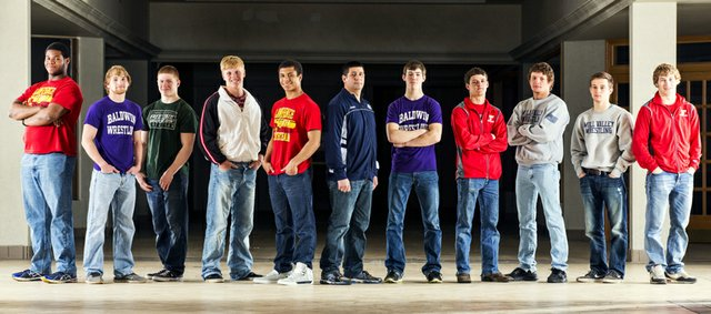 The 2014 Journal-World All-Area wrestling team, from left, Alex Jones, Lawrence; Tucker Clark, Baldwin; Sam Skwarlo, Free State; Dalton Weidl, Ottawa; Alan Clothier, Lawrence; Travis Keal, Mill Valley; Jon Pratt, Baldwin; Clayton Himpel, Tonganoxie; Jake Ellis, Mill Valley; Tyler Dickman, Mill Valley; and Asher Huseman, Tonganoxie.