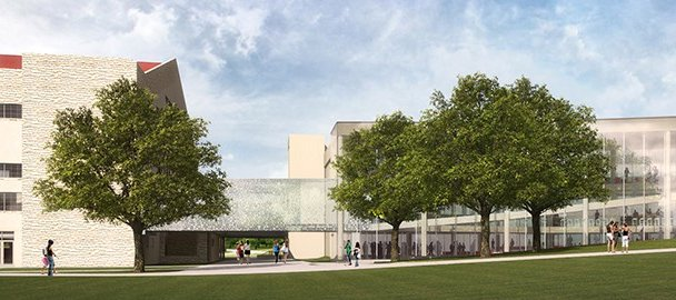 "Kansas University officials recently announced May 2 as the groundbreaking ceremony for the DeBruce Center, which will become the permanent home of James Naismith's original ""Rules of Basket Ball"" and will be flanked by the stories of Naismith, ""the Father of Basketball,"" and Forrest ""Phog"" Allen, ""the Father of Basketball Coaching."" The center, shown here in an artist's rendering, will also consist of a student activity center built to accommodate seating for 320, that includes retail dining, cafe seating, a new training table setting for both the KU men's and women's basketball teams and a catered event space."