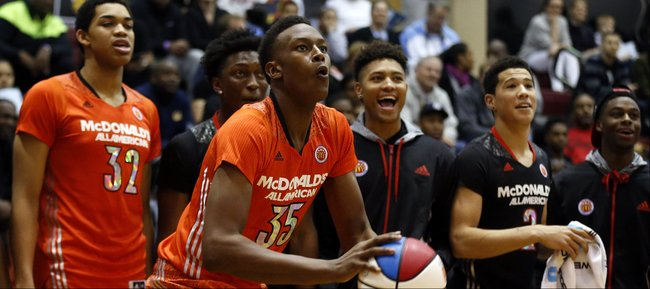 McDonald's East All-American Myles Turner, of Bedford, Texas, competes in the three-point shootout during the McDonald's All-American Jam Fest at the University of Chicago in Chicago, on Monday, March 31, 2014.