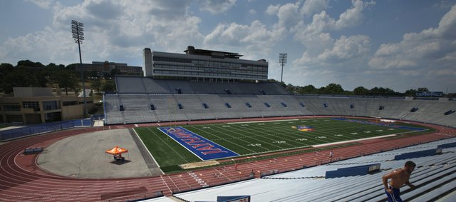 Kansas University is moving forward on plans to renovate Memorial Stadium — seen here in a file photo from 2012 — but athletic director Sheahon Zenger says an actual facelift won't begin in the near future.