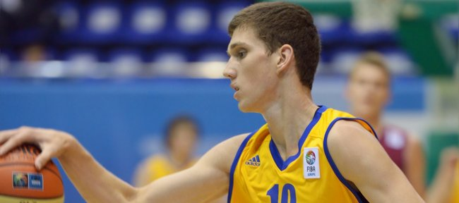 Sviatoslav Mykhailiuk of Ukraine competes during the U16 Eurobasket 2013 first-round match between Ukraine and Latvia at Palace of Sport in Kiev, Ukraine, on Aug. 8, 2013. Mykhailiuk signed a national letter-of-intent with Kansas University on Wednesday.