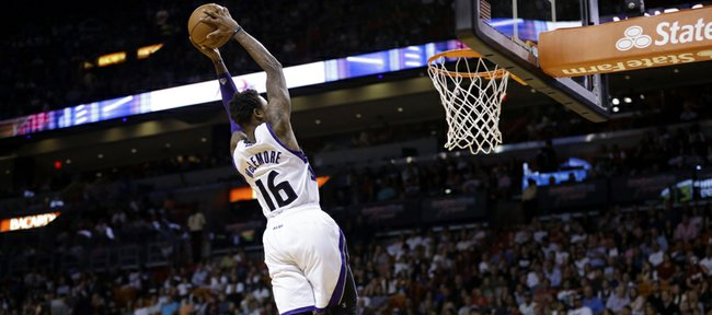 Sacramento Kings' Ben McLemore (16) shoots in the second half of an NBA basketball game against the Miami Heat, Friday, Dec. 20, 2013, in Miami. The Heat defeated the Kings 122-103. (AP Photo/Lynne Sladky)