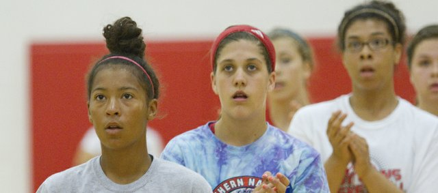 From left Lawrence High girls basketball players Marissa Pope, Brook Sumonja and Alexis Boyd, participate in an LHS girls summer basketball camp, Thursday, June 5, 2014.