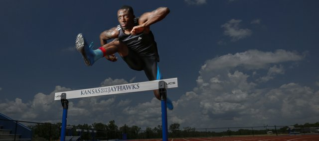 Kansas hurdler Michael Stigler, pictured Tuesday, June 3, 2014, at Rock Chalk Park.