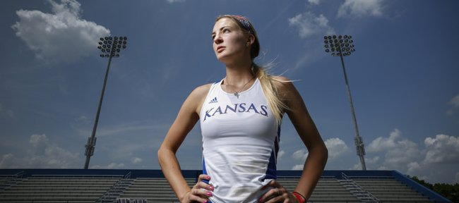 Kansas heptathlete Lindsay Vollmer is pictured on Tuesday, June 3, 2014 at Rock Chalk Park. Nick Krug/Journal-World Photo