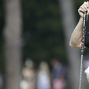 Chris Thompson lines up a putts on the 12th hole during the second round of the U.S. Open golf tournament in Pinehurst, N.C., Friday, June 13, 2014. (AP Photo/David Goldman)