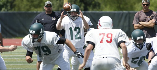 Free State High quarterback Daniel Bryant (12) takes a snap as the Firebirds football team scrimmaged against area teams, Thursday, June 12, 2014, at FSHS.
