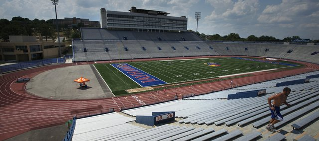 Now that Kansas University's track and field teams have a new home at Rock Chalk Park, KU officials are looking into the possibility of removing the track from Memorial Stadium, seen here on Wednesday, July 12, 2012.