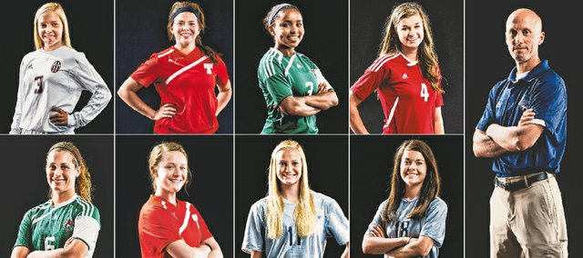 The 2014 Journal-World all-area girls soccer team, from left, top row:  Addison Campbell, Lawrence; Aly Bartholomew, Tonganoxie; Olivia Hodison, Free State; Abigail Fangman, Ottawa; coach of the year Arlan Vomhof, Mill Valley. Bottom Row: Jessica Ferguson, Free State; Emily Soetaert, Tonganoxie; Kacie Kinley, Mill Valley;  Michaela Remijio, Mill Valley. Not pictured are player of the year Maddie Dieker, Free State, and Maddie Butterfield, Mill Valley.