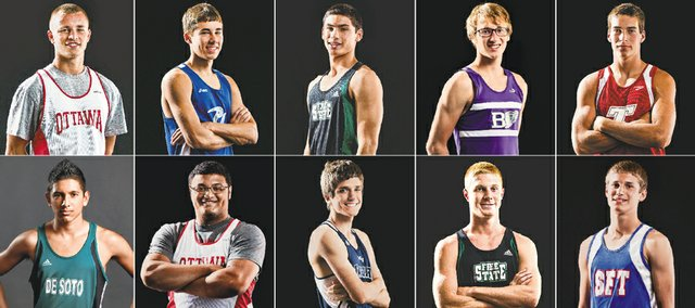 The 2014 Journal-World All-Area Boys Track team, from left, top row: player of the year Kord Ferguson, Ottawa; Colin Coleman, Perry-Lecompton; Trevor Hillis, Free State; Ethan Hartzell, Baldwin; Ben Johnson, Tonganoxie. Bottom row: Luis Murillo, De Soto; Cory Peoples, Ottawa; Kurtis Loevenstein, Mill Valley; Stan Skwarlo, Free State; Tyler Mundy, Santa Fe Trail. Not pictured: coach of the year Mike Spielman, Baldwin.
