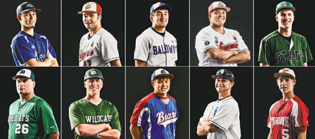 The 2014 Journal-World All-Area Baseball team, from left, top row: player of the year Zach Linquist, Perry-Lecompton; Brandon Bell, Lawrence; Chad Berg, Baldwin; Drew Green, Lawrence; Casey Hearnen, Free State. Bottom row: coach of the year Joel Thaemert, De Soto; Dyland Holden, De Soto; Bryce Stottlemire, Oskaloosa; Nick Wilson, Mill Valley; Travis Woods, Tonganoxie. Not pictured: Shamus Kearney, Wellsville.