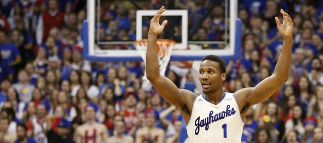 Kansas guard Wayne Selden raises up the fieldhouse during a Jayhawk run against Texas on Saturday, Feb. 22, 2014 at Allen Fieldhouse.