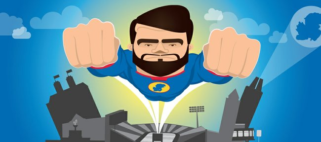 """Kansas linebacker Ben Heeney is depicted as """"The Diabolical Defender"""" in this superhero-style illustration from a KU football promotional website unveiled Friday, July 18, 2014."""