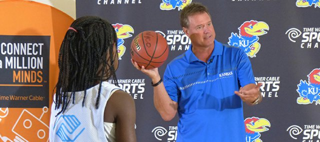 Kansas basketball coach Bill Self speaks to members of the Boys and Girls Clubs of Greater Kansas City on Thursday, July 31, 2014, in Kansas City, Kansas.