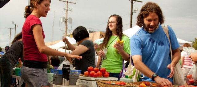 The Lawrence Farmers' Market has more than 100 vendors selling fresh fruits and vegetables at reasonable prices.