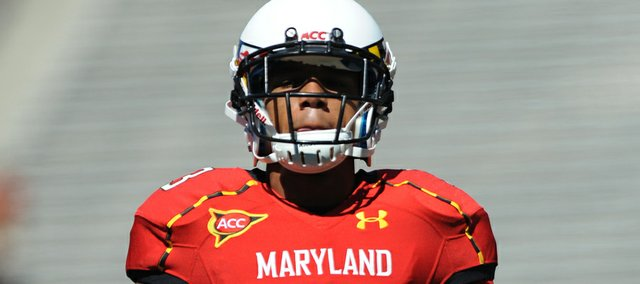 University of Maryland Terrapins receiver Nigel King (3) during pregame against Connecticut on Sept. 15, 2012, in College Park, Maryland. King has joined Kansas University's football team and will be eligible to play this fall.