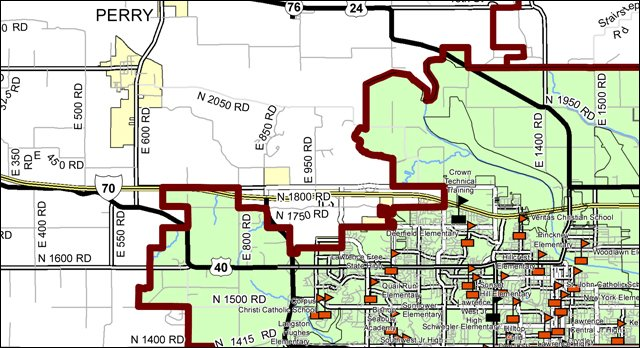 Map of USD 497, the Lawrence school district, from the Kansas Department of Transportation.