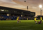 Kansas opened its 2014 soccer season against Wyoming under the lights at its new home at Rock Chalk Park on Friday, Aug. 22, 2014.