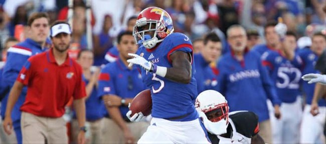 Kansas receiver Tony Pierson cruises up the sideline for a long gain against Southeast Missouri State during the first quarter on Saturday, Sept. 6, 2014 at Memorial Stadium.