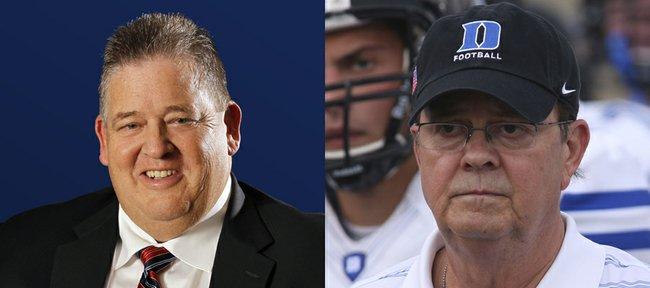 Kansas football coach Charlie Weis, left, and Duke coach David Cutcliffe