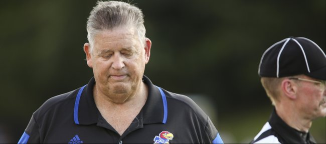 Kansas head coach Charlie Weis shows frustration during the Jayhawks' 41-3 loss to Duke on Saturday, Sept. 13, 2013 at Wallace Wade Stadium in Durham, North Carolina.