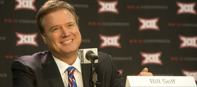 KU coach Bill Self, was all smiles as he was answering questions during Big Twelve Basketball Media Day Wednesday, October 15, 2014 at the Sprint Center, as Coaches and players were on hand to answer reporters' questions.
