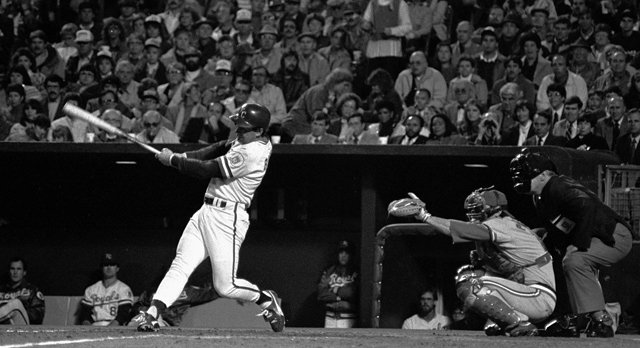 Kansas City Royals third-baseman George Brett swings at a pitch during game 2 of the 1985 World Series. The Royals lost the game 4-2 but defeated the St. Louis Cardinals 4 games to 3 to win World Series.