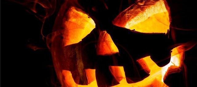 A spooky Jack-O-Lantern.