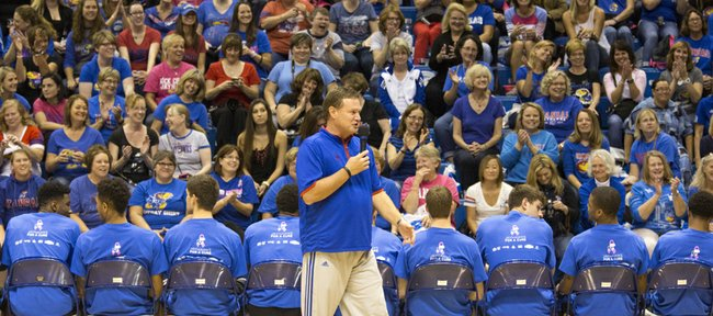 Kansas coach Bill Self talks to a crowd full of women in Allen Fieldhouse during the annual Ladies Night Out on Thursday.