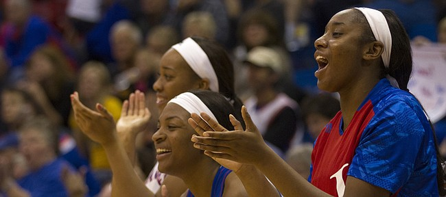 The Kansas bench cheers after a made three pointer during their game against Fort Hays State Sunday at Allen Fieldhouse.