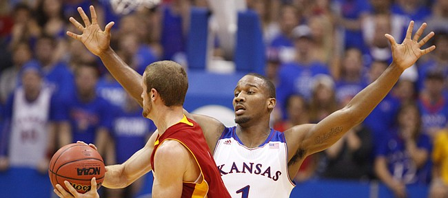 Kansas guard Wayne Selden defends against a pass from Pittsburg State guard Jake Bullard during the second half of an exhibition game on Tuesday, Oct. 29, 2013 at Allen Fieldhouse.