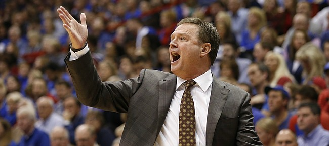 Kansas head coach Bill Self calls a play during the second half on Friday, Nov. 14, 2014 at Allen Fieldhouse.