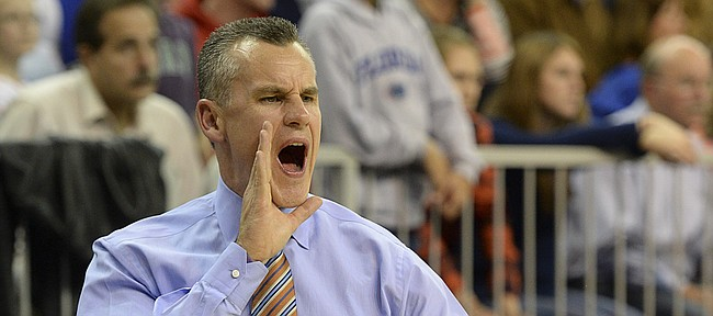 Florida coach Billy Donovan calls out instructions for the sidelines during the second half of NCAA College basketball against William & Mary in Gainesville, Fla., Friday, Nov., 14, 2014. Florida defeated William & Mary 68-45. (AP Photo/Phil Sandlin)