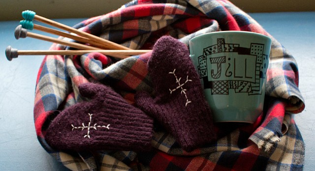 Easy gifts you can make yourself this holiday, including a no-sew blanket scarf, recycled mittens, doodled coffee cup and handmade knitting needles.