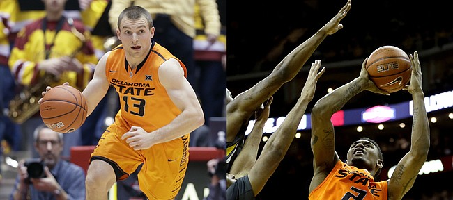Oklahoma State's Phil Forte III, left, and Le'Bryan Nash rank 1-2 in scoring in the Big 12 heading into Tuesday's meeting at Kansas University.