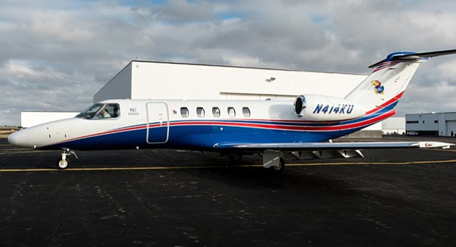 The University of Kansas' Cessna Citation CJ4 business jet. The plane was delivered to KU Dec. 23, 2014, and replaced the university's Cessna Citation Bravo, which KU had been using 17 years.