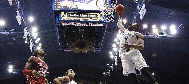 Kansas forward Cliff Alexander (2) throws down a dunk against Oklahoma during the second half on Monday, Jan. 19, 2015 at Allen Fieldhouse.