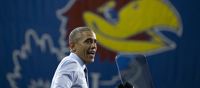 President Barack Obama speaks at the University of Kansas in Lawrence, Kansas, Thursday, Jan. 22, 2015, about the themes in his State of the Union address.