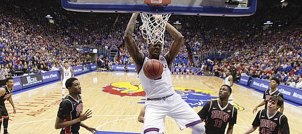 Kansas forward Cliff Alexander (2) celebrates after a dunk against UNLV during the second half on Sunday, Jan. 4, 2015 at Allen Fieldhouse.