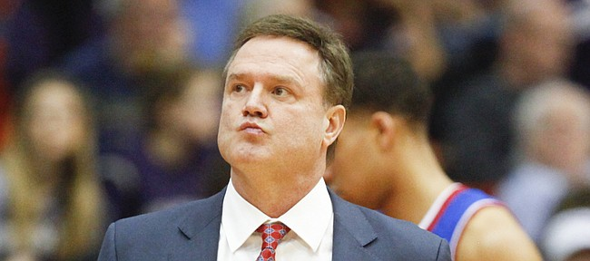 Kansas head coach Bill Self glances at the scoreboard during a timeout late in the second half at Wilkerson-Greines Activity Center on Wednesday, Jan. 28, 2015 in Fort Worth, Texas.