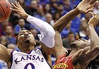 Kansas guard Frank Mason III (0) heads up to the bucket against Iowa State forward Jameel McKay (1) during the first half on Monday, Feb. 2, 2015 at Allen Fieldhouse.