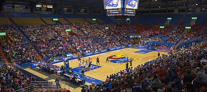 The fieldhouse was filled with pink during the annual Jayhawks for a Cure game Saturday evening at Allen Fieldhouse.
