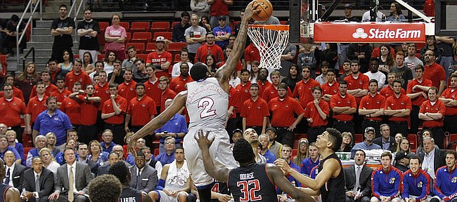 Kansas forward Cliff Alexander (2) dunks during the second half of the Jayhawks 73-51 win over Texas Tech Tuesday, Feb. 10, 2015 at United Supermarkets Arena.