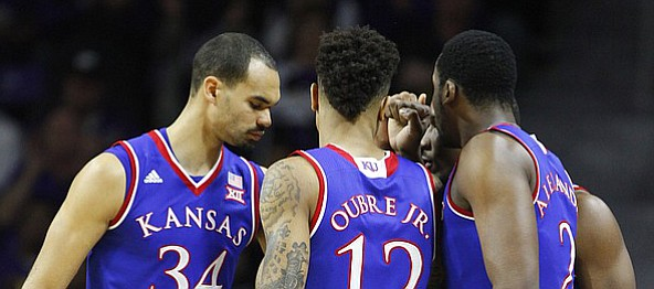 The Jayhawk starters come together before tipoff on Monday, Feb. 23, 2015 at Bramlage Coliseum.