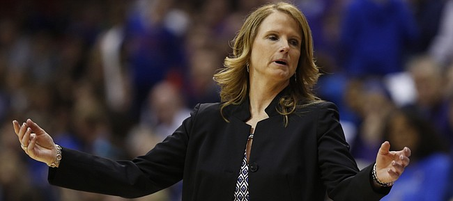 KU coach Bonnie Henrickson reacts late in the Jayhawks' 55-48 loss to Kansas State on Wednesday, Feb. 25, 2015, at Allen Fieldhouse.