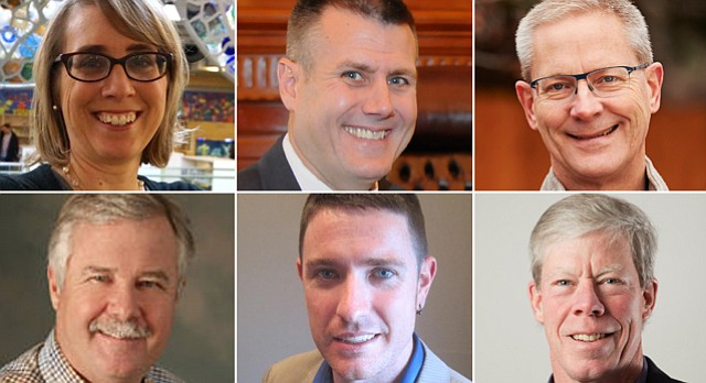 2015 City Commission candidates for the April 7 general election, in order of finish in primary, from top left: Leslie Soden, Stan Rasmussen, Stuart Boley. From bottom left: Terry Riordan, Matthew Herbert, Bob Schumm.