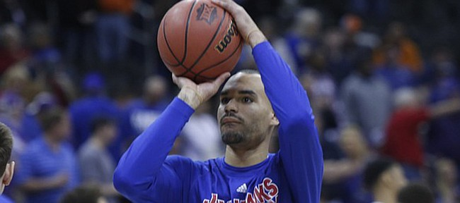 Kansas University's Perry Ellis warms up before the Jayhawks' game against TCU on Thursday, March 12, 2015 at the Sprint Center in Kansas City, Missouri.