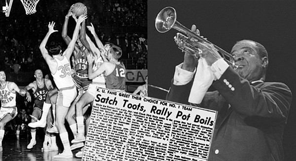 "Louis ""Satchmo"" Armstrong was performing at Kansas University on March 23, 1957, for a previous engagement when Frank Burge, then-director of the Kansas Union, convinced the legendary musician to play at a pep rally following the men's basketball team's loss in the national championship game earlier that night."