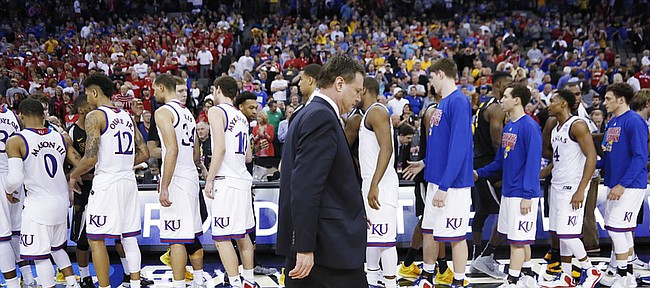 Kansas Coach Bill Self walks off the court in the Jayhawks' third-round NCAA Tournament loss against Wichita State Sunday, March 22, 2015 at the CenturyLink Center, in Omaha, Neb.